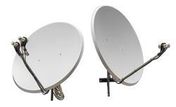 satellite dish antennas isolated on white background