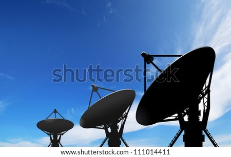 satellite dish antennas under blue sky with white cloud