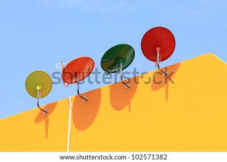 satellite dish antennas under sky