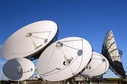 Satellite dish antennas with blue sky.Satellite dish antennas