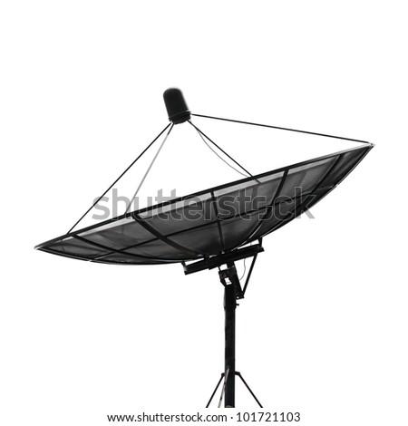 Satellite dish for communication on white background