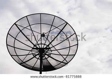 Satellite dish in the cloudy sky