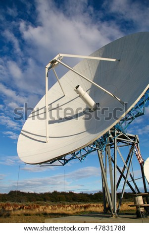Satellite dish in Ushuaia, Argentina - stock photo