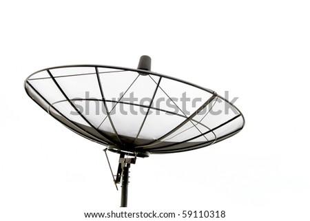 Satellite Dish isolated on White sky - stock photo