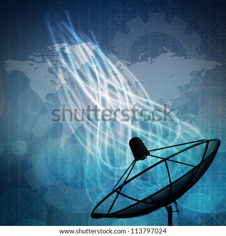 Satellite dish on global background for Communication and technology