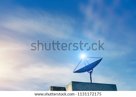 Satellite dish on sky background.It is a technology for receiving television signals.Digital signal station.Development of communication system.Modern technology. #1131172175