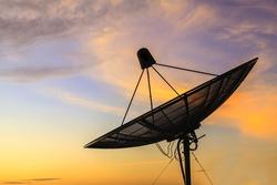 Satellite dish sky in twilight in the city