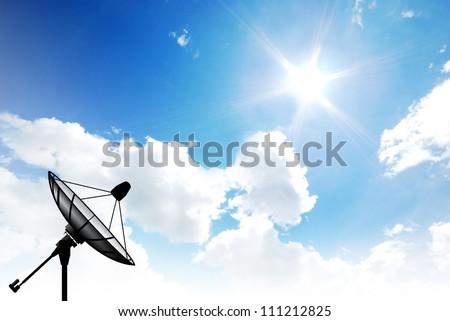 Satellite dish sky sun blue sky communication technology network image background for design