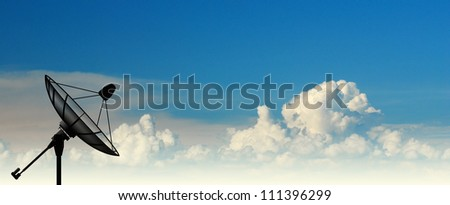 Satellite dish sky sun blue sky communication technology network image background for design