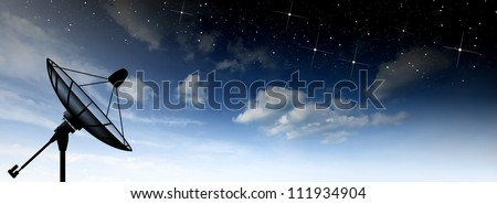 Satellite dish sky sun stars communication technology network image background for design