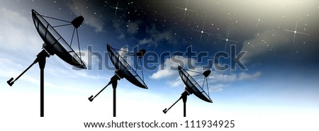 Satellite dish sky sun stars communication technology network image background for design