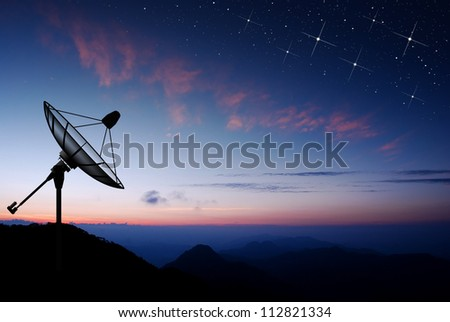 Satellite dish sky sun stars communication technology network image background for design sunset
