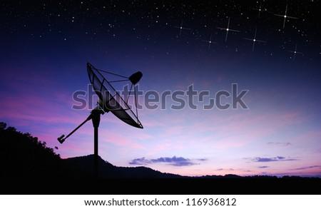 Satellite dish sky sun stars communication technology network image background for design sunset