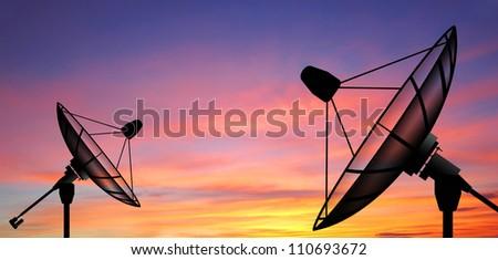Satellite dish sky sunset communication technology network image background for design