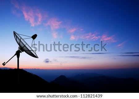 Satellite dish sky sunset communication technology network image background for design - stock photo