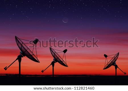 Satellite dish sky sunset communication technology network image moon star background for design