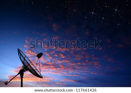 satellite dish star sunset background for design
