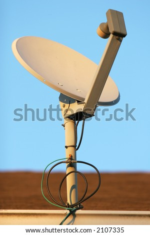 Satellite, Dish, Wired, Cable, Television, Modern, Technology, Satellite, Receiver, Amplifier, Roof, Sky, Blue, Bolts, Nuts, Drain, House,