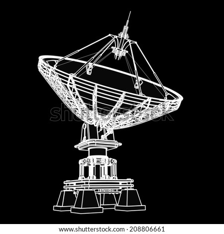 Satellite dishes antenna - Doppler radar. black cartoon illustration outline. High resolution 3D  #208806661
