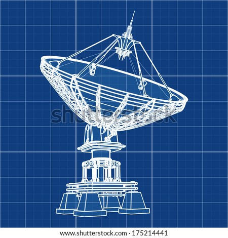 Satellite dishes antenna - Doppler radar. Cad cartoon white drawing on blue background illustration outline. High resolution 3D  #175214441