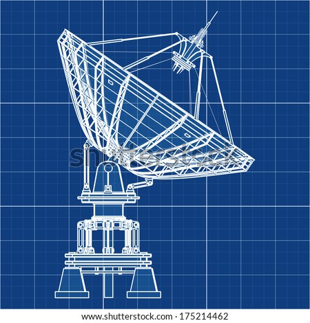 Satellite dishes antenna - Doppler radar. Cad cartoon white drawing on blue background illustration outline. High resolution 3D  #175214462