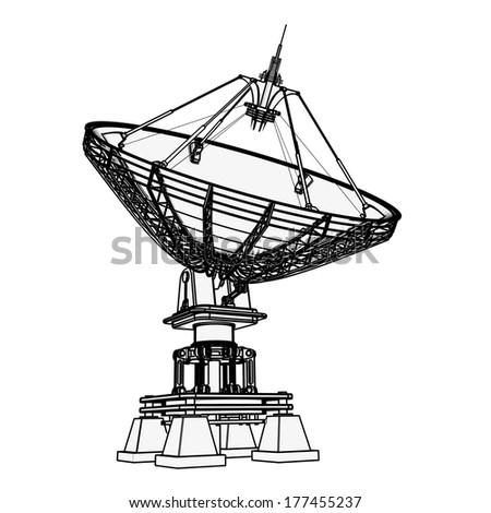 Satellite dishes antenna - Doppler radar.  cartoon illustration outline. High resolution 3D  #177455237