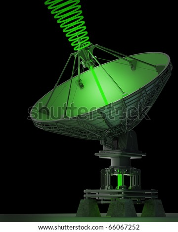 Satellite dishes antenna - Doppler radar isolated on black 3d render