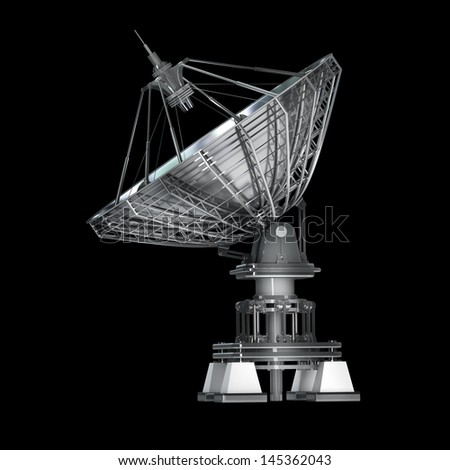 Satellite dishes antenna - Doppler radar isolated on black High resolution 3D image #145362043