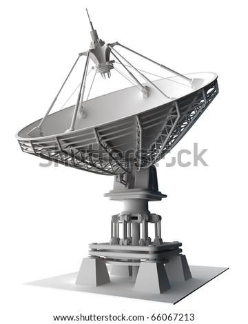 Satellite dishes antenna - Doppler radar isolated on white 3d render - stock photo
