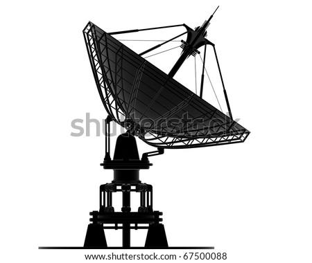 Satellite dishes antenna - Doppler radar isolated on white 3d render