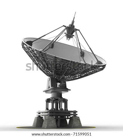 Satellite dishes antenna - Doppler radar isolated on white 3d render