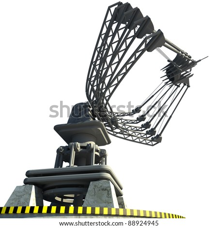 Satellite dishes antenna - Doppler radar isolated on white High resolution 3D image