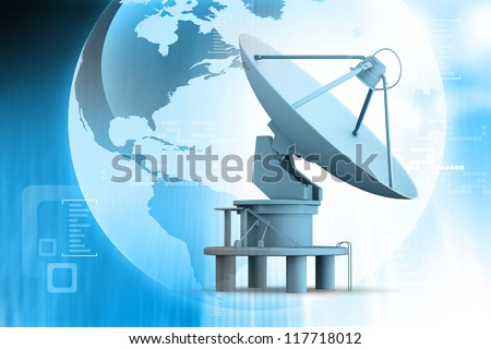Satellite dishes antenna on abstract background
