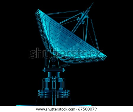 Satellite dishes antenna Xray - Doppler radar isolated on black 3d render #67500079