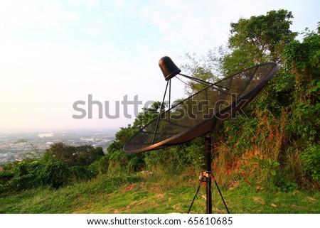 Satellite dishes atop a mountain