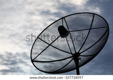 satellite disk with twilight sky.