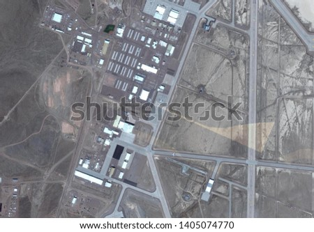 satellite image of area 51 top secret military base with mysterious blacked out area in the middle #1405074770