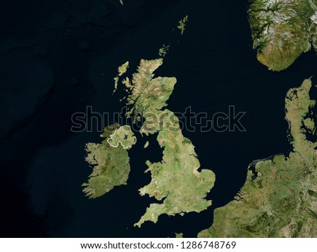 Satellite image of Great Britain with borders (Isolated imagery of Great Britain. Elements of this image furnished by NASA)