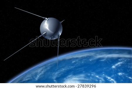 Satellite in Orbit Above Earth