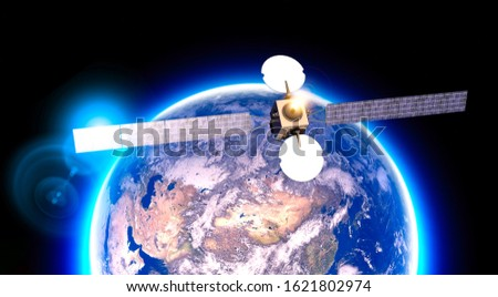 Satellite in orbit, telecommunications, satellite view of the earth. Asia Russia, China and the Middle East. Physical planisphere. 3d render