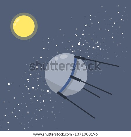 Satellite in space orbiting the earth. Soviet Sputnik. Moon and milky way. Exploration of universe and galaxy. first flight into space. Modern technology. Cartoon flat illustration
