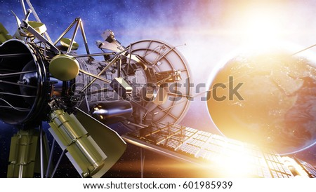 Satellite in space. view of the earth. Sunrise. 3d rendering. #601985939