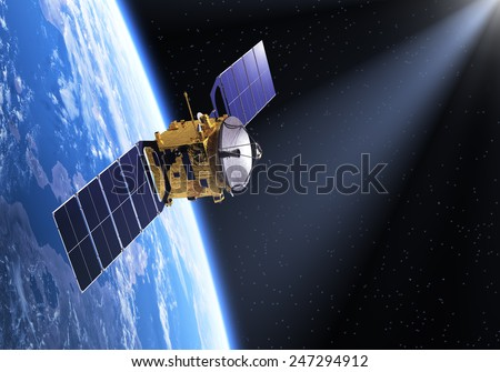 Satellite In The Ray Of Light. 3D Scene. Elements of this image furnished by NASA.