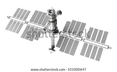 satellite isolated over white background - stock photo