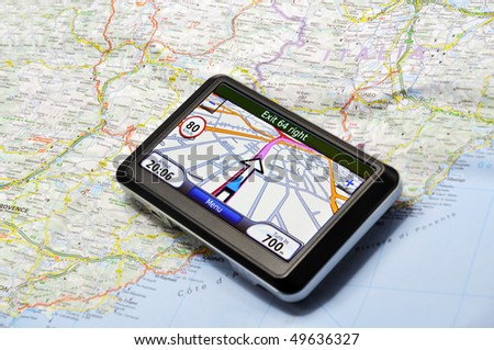 Satellite navigation system on the map