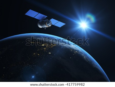 Satellite  on the orbit. 3D illustration