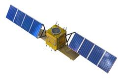 Satellite probe orbital isolated on white background