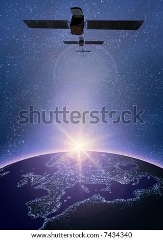 satellite, space, planet, Europe, horizon, TV, telecommunication