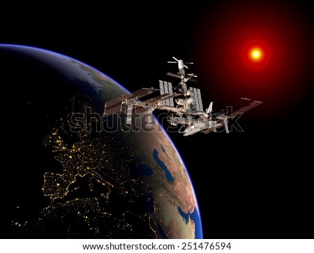 Satellite space station Europe space sun earth. Elements of this image furnished by NASA.