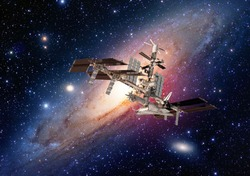 Satellite space station spaceship spacecraft outer galaxy universe. Elements of this image furnished by NASA.